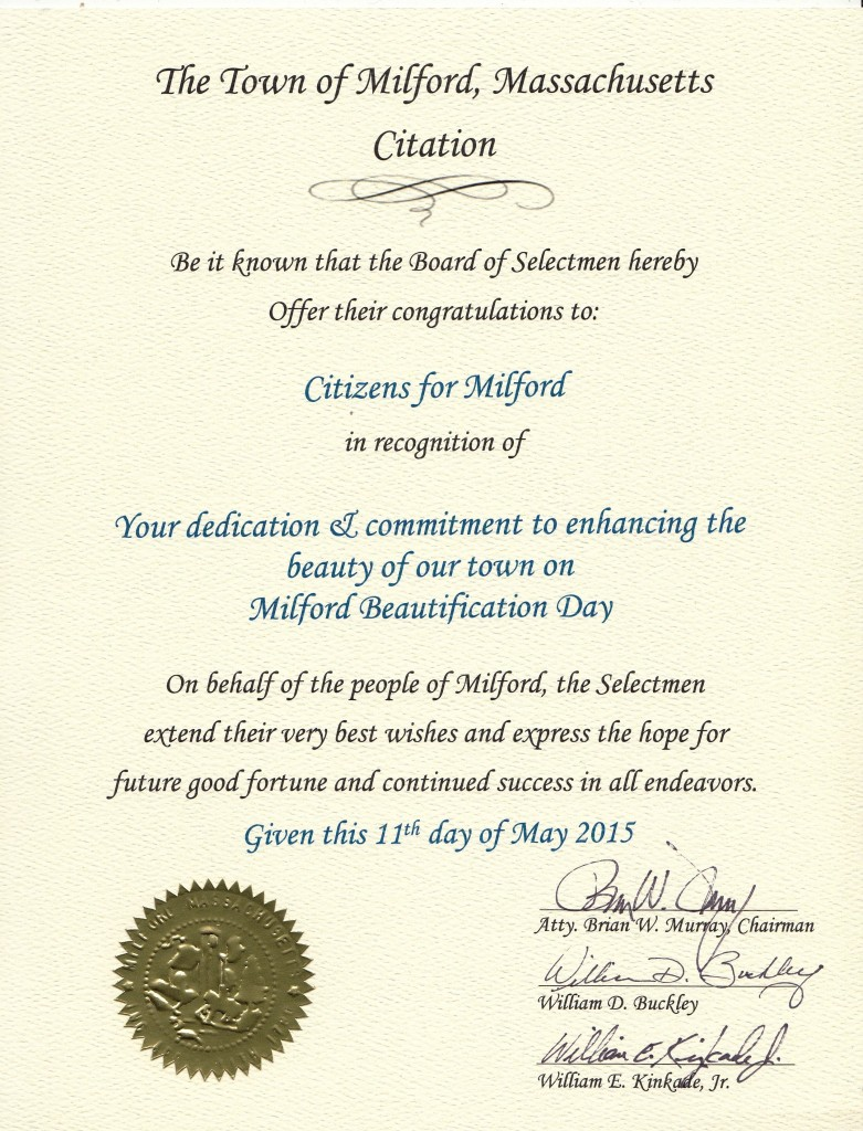 CFM Citation for Milford Beautification Day