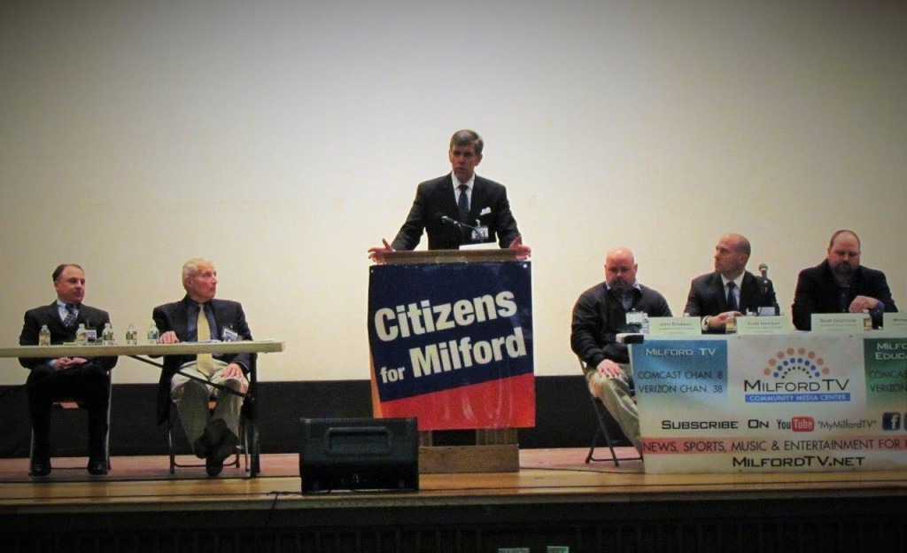 Citizens for Milford Candidates Forum L-R: John Seaver, Steve Trettel, Mike Walsh (at podium), John Erickson, Scott Harrison, Scott Vecchiolla.